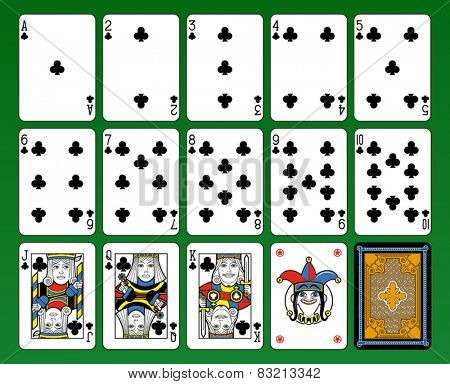 Playing cards, club suite, joker and back. Green background.