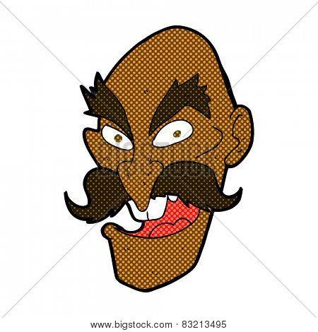 retro comic book style cartoon evil old man face