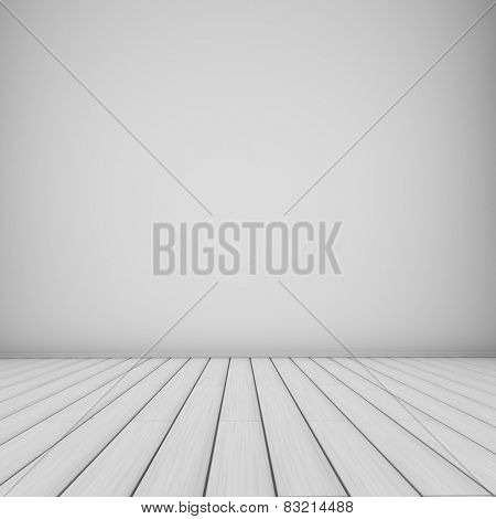 Empty white room background wooden planks floor.