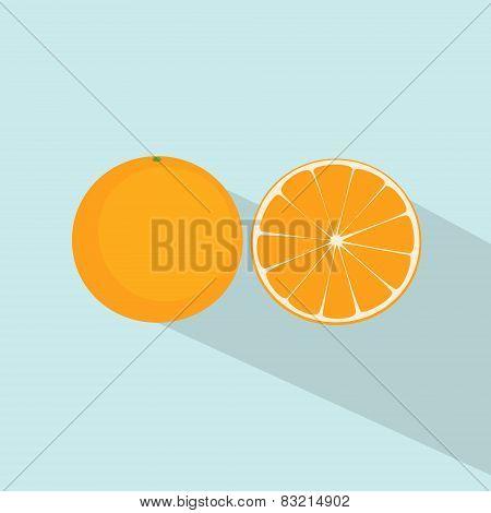 orange citrus fruit flat design icon vector