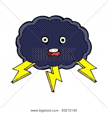 retro comic book style cartoon cloud and lightning bolt symbol