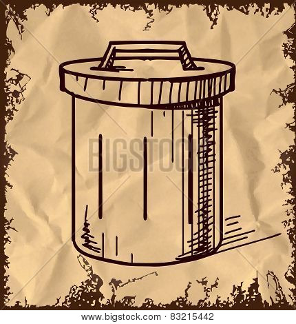Outdoor trash bin isolated on vintage background