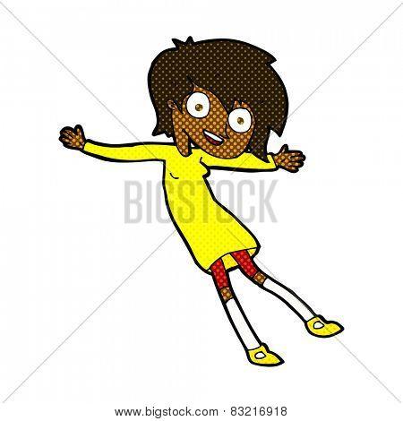 retro comic book style cartoon crazy excited girl