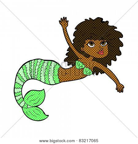 retro comic book style cartoon pretty mermaid waving
