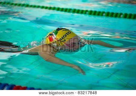 Milan - December  23: Ilaria Rosa  (italy)  Performing Breaststroke  In  Swimming Meeting Brema Cup