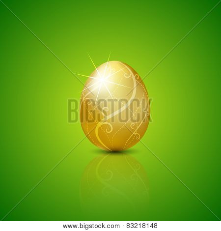 Easter With Golden Egg.vector Illustration Background