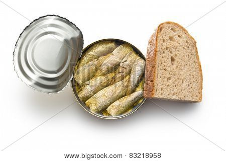 can of sprats on white background