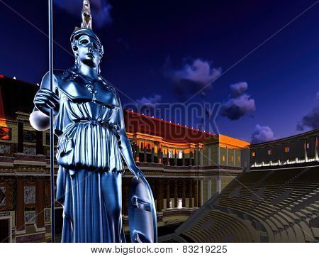 Greek Athena in ancient theatre