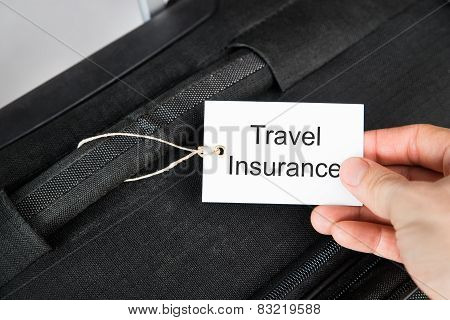 Hand Holding Travel Insurance Tag