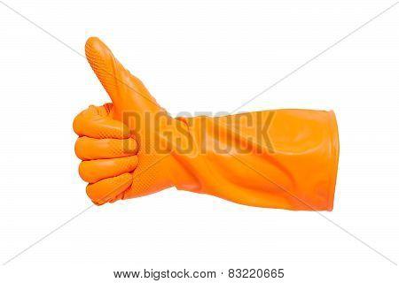 Thumbs up with a orange vinyl glove