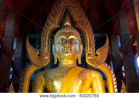 Face Of Famous Large Sitting Buddha In Thai Temple.