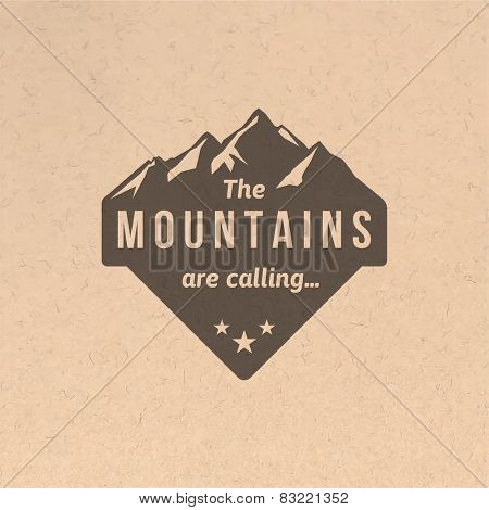 Mountain label with type design in vintage style
