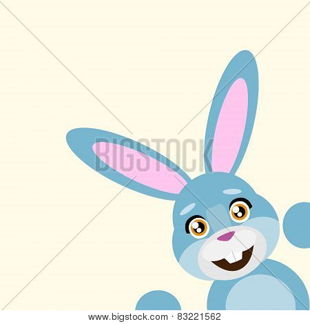 Happy easter rabbit smile peep looking from corner vector