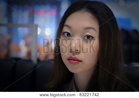 Face of a young Korean woman