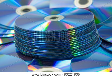 Colorful Compact Discs Set Of Dvd Scattered On A Table