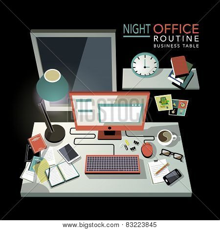 Flat 3D Isometric Night Office Routine Illustration