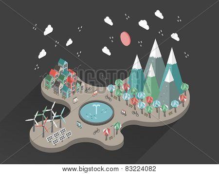 Flat 3D Isometric Ecology Life At Night Illustration