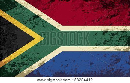South Africa flag. Grunge background. Vector illustration