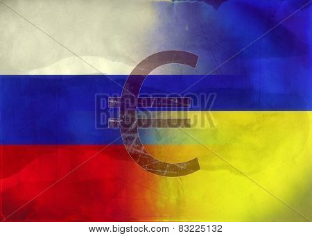 Grunge Illustration Russian and Ukrainian Flags combained  with Euro symbol