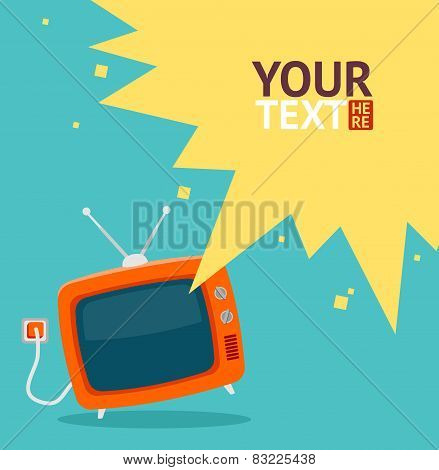Vector retro television card. Flat Design