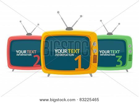Vector retro tv option banner. Flat Design