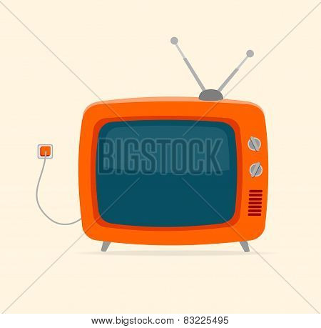 Vector red retro tv with wire Flat Design