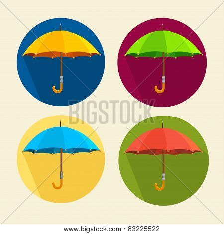Vector colorful umbrellas set. Flat Design