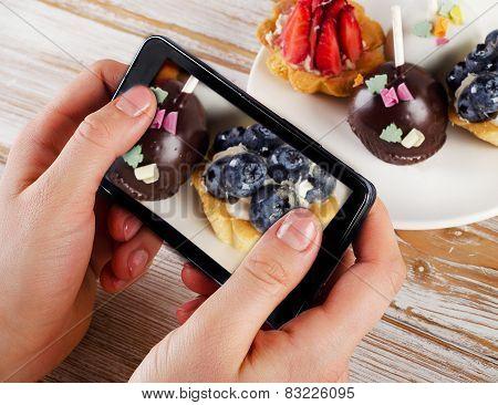 Smartphone Shot Food Photo - Sweet Dessert With  Berries