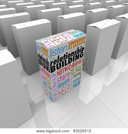 Relationship Building words on a unique product package or box on store shelf giving best advice or means to grow or attract new business, customers or clients