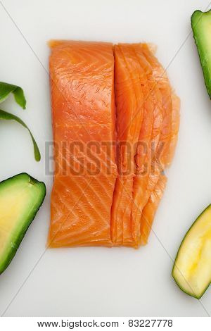 Salmon Fish For Sushi Preparation On White Table