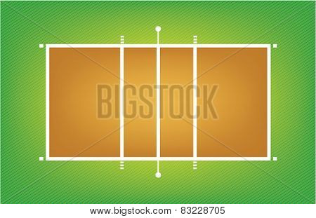 Illustration of volleyball court or field