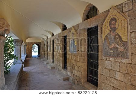 Frescoes At Ialyssos Monastery Rhodes