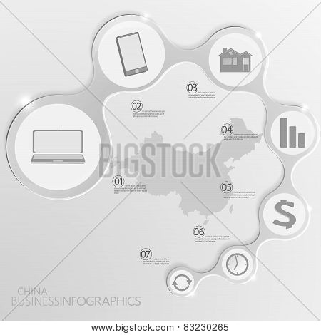 China Map and Elements Infographic. Vector illustration