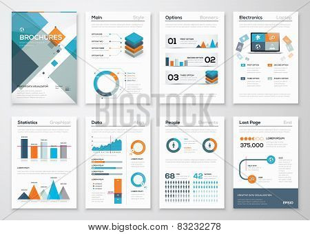 Modern business brochures and infographic vector elements