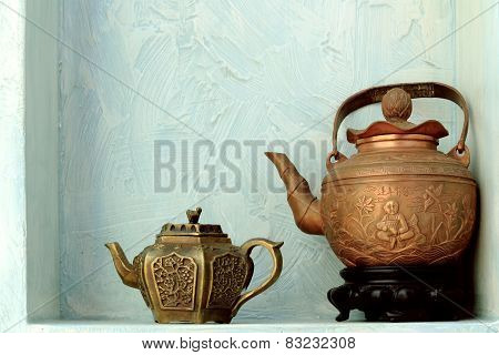 two copper kettle