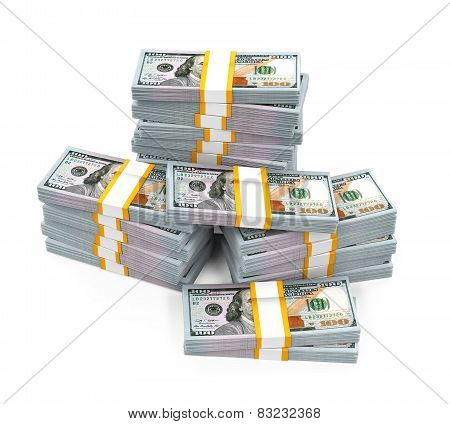 Stacks of New 100 US Dollar Banknotes