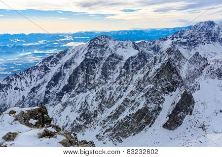 Winter scene in Slovakia, view from Lomnytsky Stit mountain's top on valley