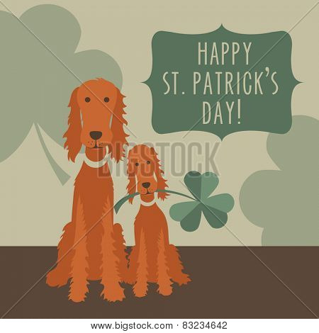 St Patricks Day card design with Irish Setters and Shamrocks