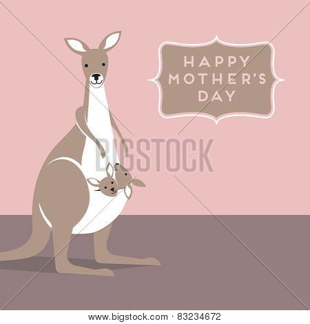Mothers Day greeting with Mama Kangaroo and babies in her pouch
