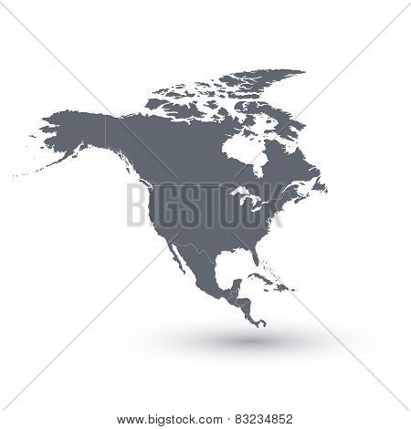 North America Map. Vector illustration