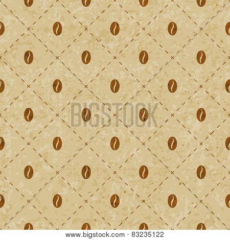 Coffee background with old paper grange texture. Geometric seamless abstract hipster vintage pattern