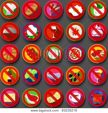 Twenty Five Circular Flat Icon Italian Food Prohibition