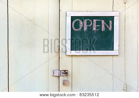Chalk board On Wooden Door