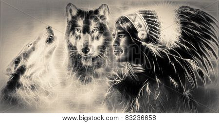 A Beautiful Airbrush Painting Of An Young Indian Warrior Accompanied With Two Wolves Profile Portrai