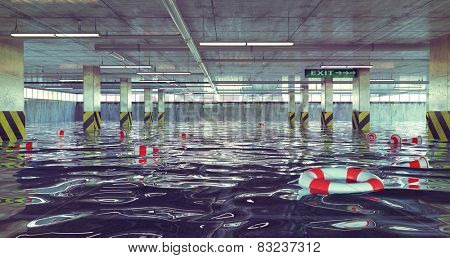 flooding parking lot. 3d concept