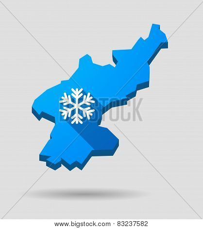 Blue North Korea Map With A Snow Flake