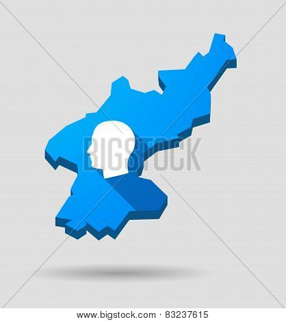 Blue North Korea Map With A Male Head