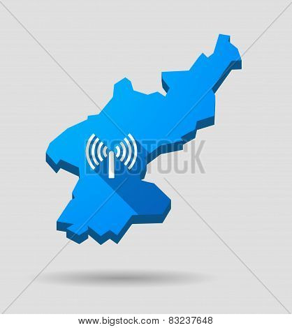 Blue North Korea Map With An Antenna