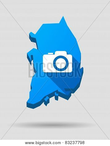 Blue South Korea Map With A Photo Camera