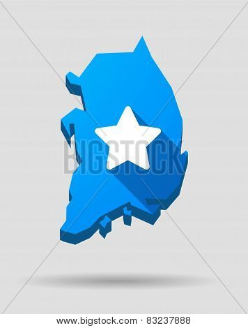 Blue South Korea Map With A Star
